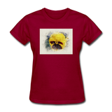 Yellow Pansy Watercolor - Women's - dark red