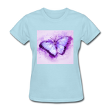 Purple and Blue Sketch Butterfly - Women's - powder blue