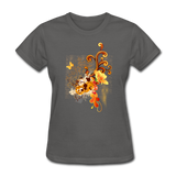 Swirls with Butterfly - Women's - charcoal