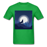 Wolf Howling at the Moon 2 - bright green