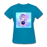 Pisces Lady on Blue - Women's - turquoise