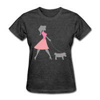 Woman in Pink Walking Dog - Women's - heather black