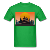 Lady and Pet on Cliff - Unisex - bright green