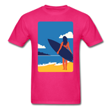 Lady with Surf Board - Unisex - fuchsia
