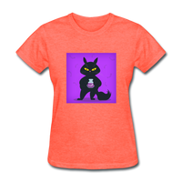 Satisfied Black Cat - Women's - heather coral