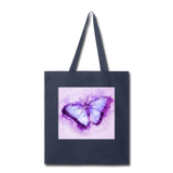 Purple and Blue Sketch Butterfly - Tote - navy