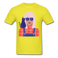 Stylish Lady with Cat - Men's - yellow