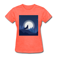 Wolf Howling at Moon - Women's - heather coral