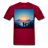 Backpackers at Sunset - Unisex - dark red