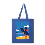Lady with Surf Board - Tote - royal blue