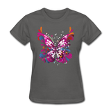 Abstract Pink Butterfly - Women's - charcoal