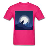 Wolf Howling at the Moon 2 - fuchsia