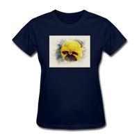 Yellow Pansy Watercolor - Women's - navy