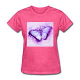 Purple and Blue Sketch Butterfly - Women's - heather pink