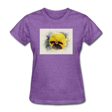 Yellow Pansy Watercolor - Women's - purple heather