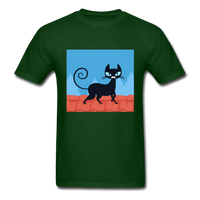 Black Cat on a Roof - Mens - forest green