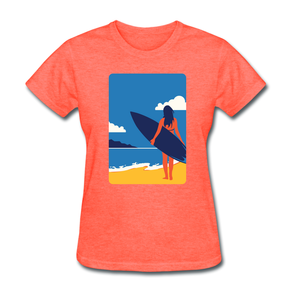 Lady with Surf Board - Women's - heather coral