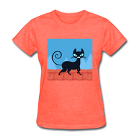 Black Cat on a Roof - Women's - heather coral