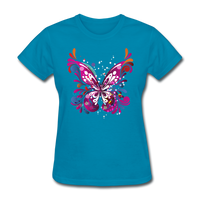 Abstract Pink Butterfly - Women's - turquoise