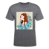 Beautiful Woman with Flowers - Men's - mineral charcoal gray