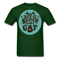 Life is Better Cat - Unisex - forest green