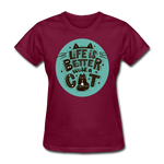 Life is Better Cat - Womens - burgundy