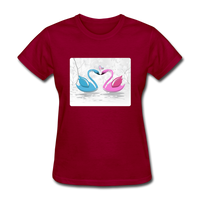 Swans in Love - Women's - dark red