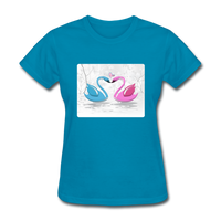 Swans in Love - Women's - turquoise