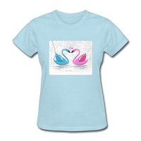 Swans in Love - Women's - powder blue