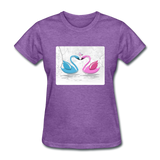 Swans in Love - Women's - purple heather