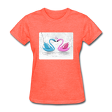 Swans in Love - Women's - heather coral