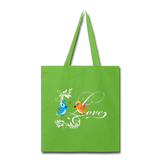 Birds in Love - Tote - lime green