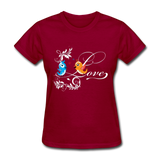 Birds in Love - Women's - dark red