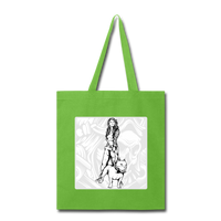Lady and Pit Bull - Tote - lime green