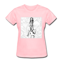 Lady with Pit Bull - Women's - pink