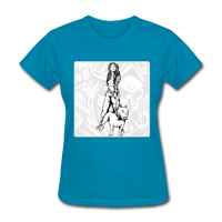 Lady with Pit Bull - Women's - turquoise