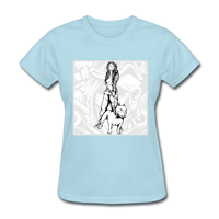 Lady with Pit Bull - Women's - powder blue