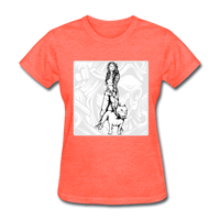 Lady with Pit Bull - Women's - heather coral