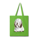 Bearded Collie - Tote - lime green