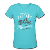 Have My Motorcycle - V-Neck Women's - aqua