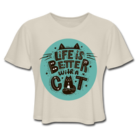 Life is Better Cat - Cropped Women's - dust