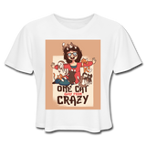 One Cat Away From Crazy - Cropped Women's - white