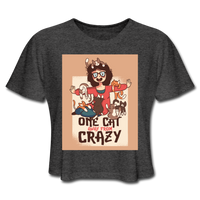 One Cat Away From Crazy - Cropped Women's - deep heather