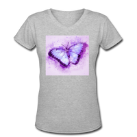 Purple and Blue Sketch Butterfly - V-Neck Women's - gray