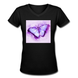 Purple and Blue Sketch Butterfly - V-Neck Women's - black