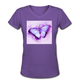 Purple and Blue Sketch Butterfly - V-Neck Women's - purple