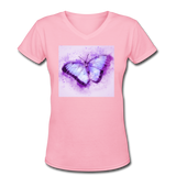 Purple and Blue Sketch Butterfly - V-Neck Women's - pink