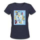 Awesome Cool Dude - V-Neck Women's2 - navy