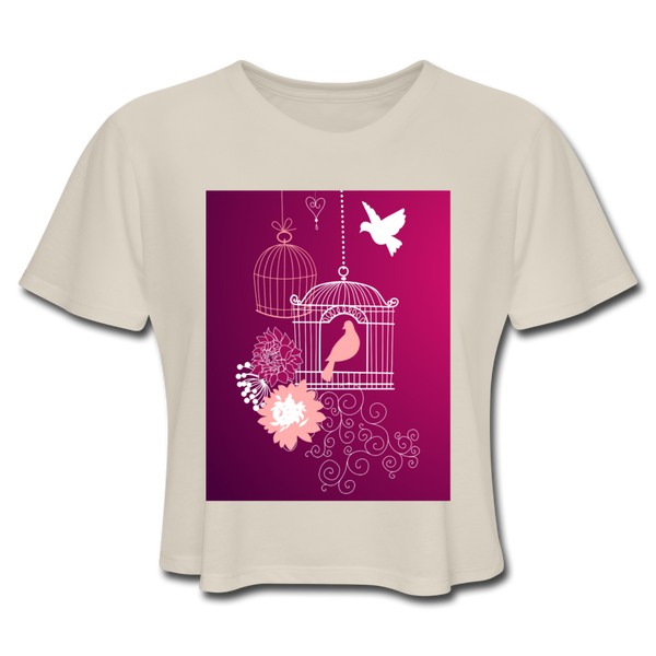 Pink Dove Collage - Cropped Women's - dust