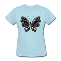 Butterfly With Swirls - Women's - powder blue